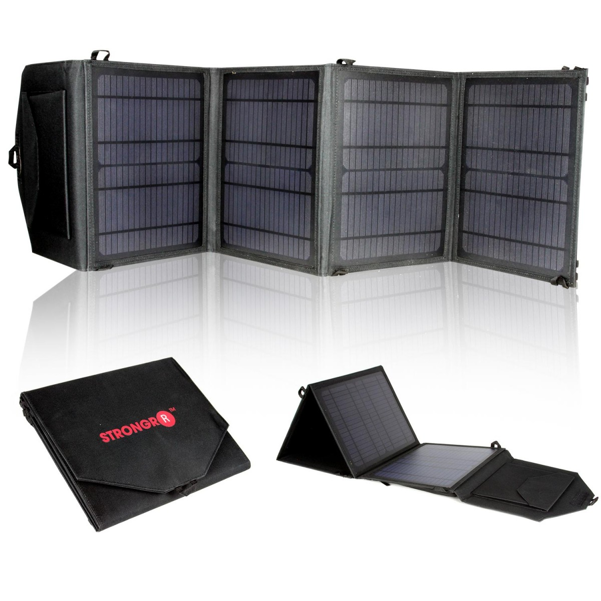 Strongrr 28W Solar Charger w/ Foldable High Efficient Monocrystalline Panels