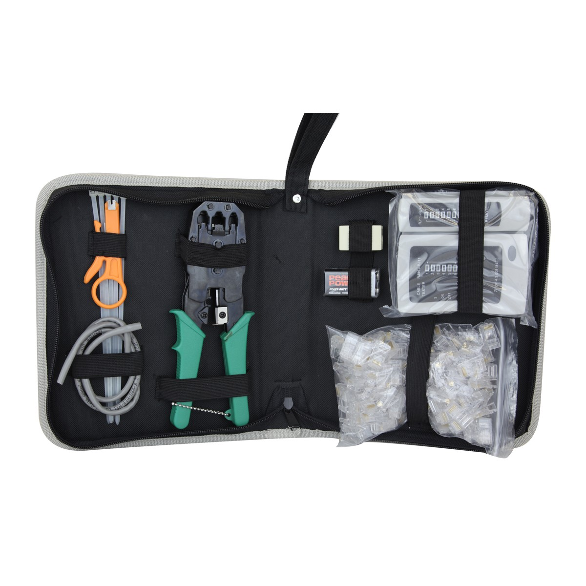 Strongrr Commercial Grade Modular Tool Kit, Crimping, Stripping, Cutting, Cable Testing for Cat5, 8P8C RJ-45, 6P6C RJ-12, RJ-11 and 4P4C RJ9