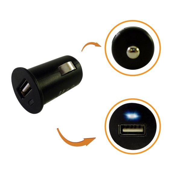 Low Profile Micro USB Car Charger Adapter (Black)