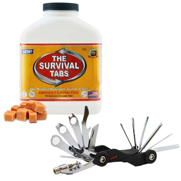Survival Tabs (Butterscotch) + 26-Function Bicycle Tool Mini Foldable Took Kit