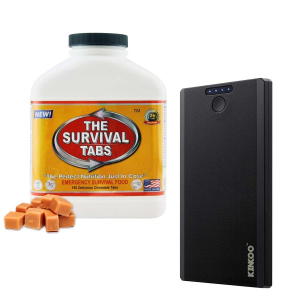 Survival Tabs (Butterscotch) + Compact 8000mAh Power Bank Backup Battery Portable Charger (Black)