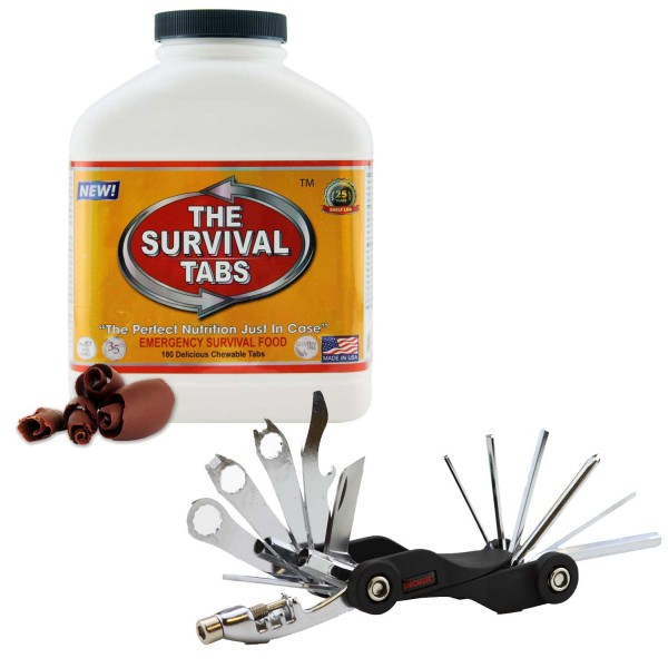 Survival Tabs (Chocolate) + 26-Function Bicycle Tool Mini Foldable Took Kit