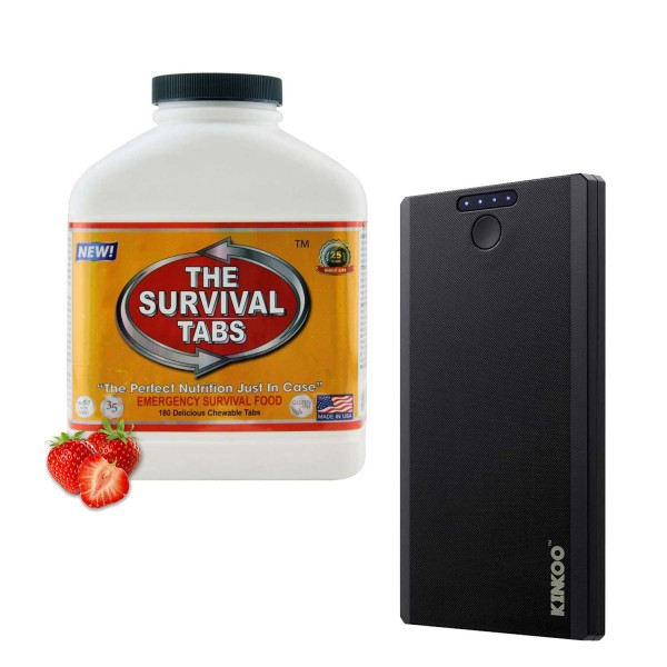 Survival Tabs (Strawberry) + Compact 8000mAh Power Bank Backup Battery Portable Charger (Black)