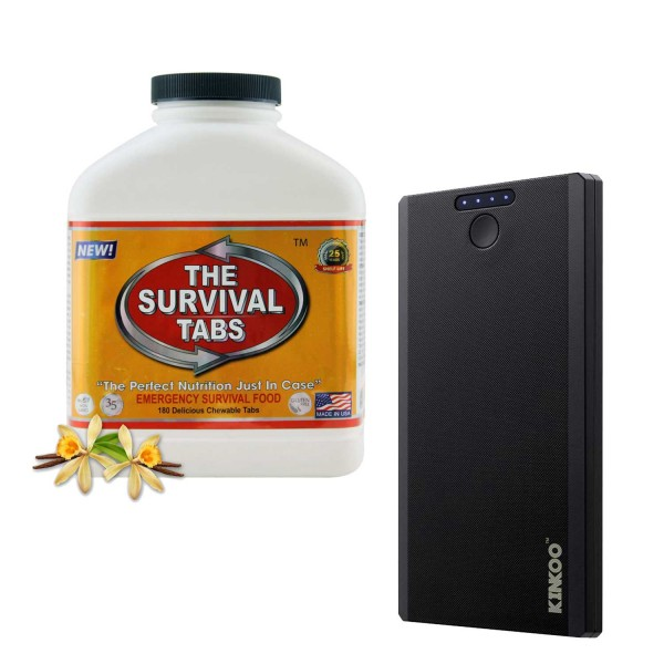 Survival Tabs (Vanilla) + Compact 8000mAh Power Bank Backup Battery Portable Charger (Black)