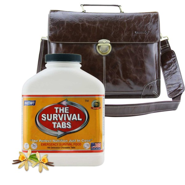 Survival Tabs (Vanilla) + Leather Laptop Bag Vintage Full-grain Leather Body