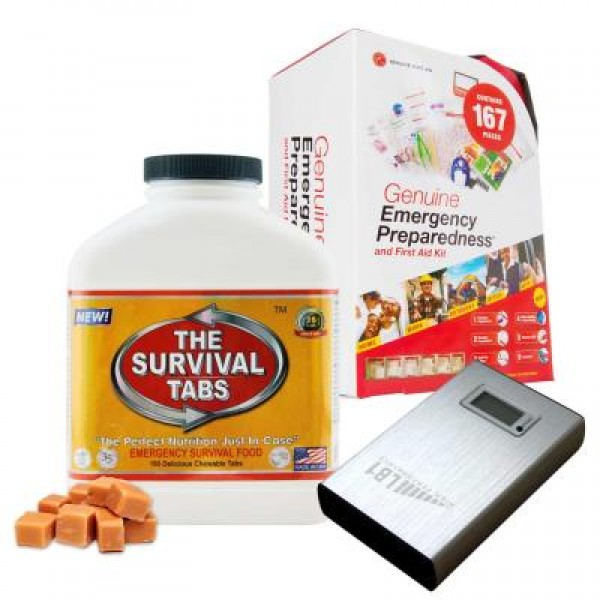 Emergency First Aid Kit (167 Pcs), Survival Tabs (Butterscotch), Power Bank (11200 mAh)