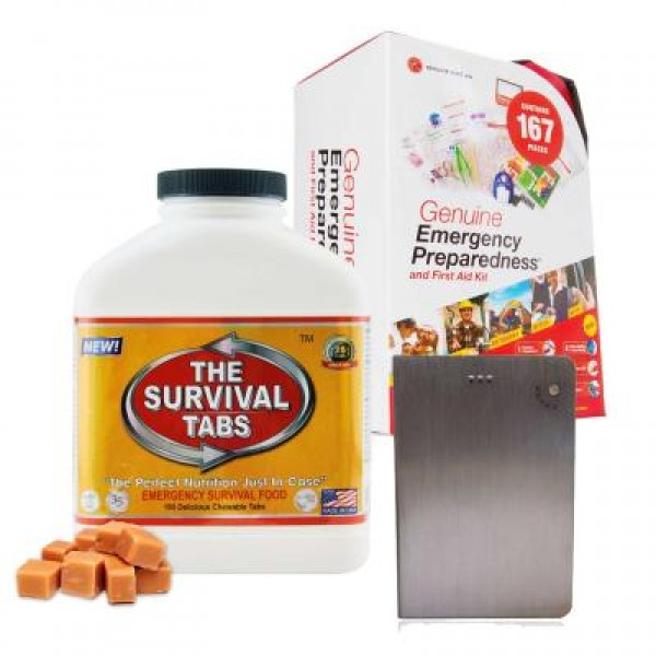 Emergency First Aid Kit (167 Pcs), Survival Tabs (Butterscotch), Power Bank (16000 mAh)