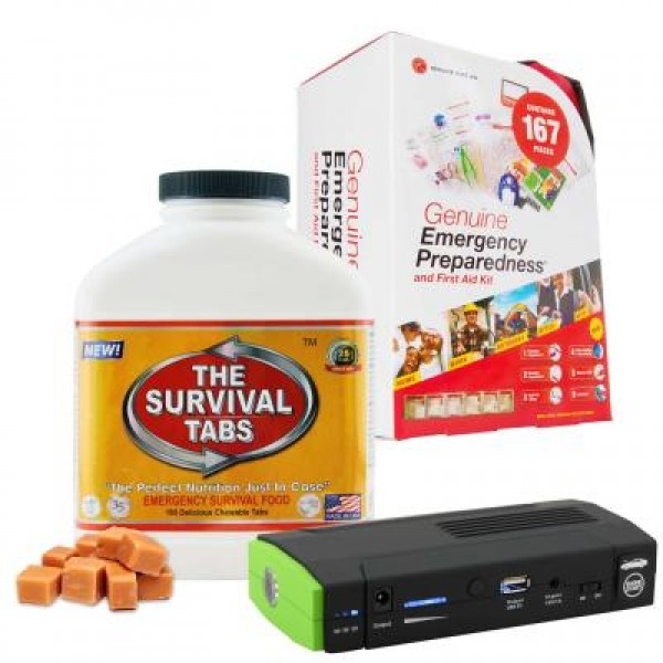 Emergency First Aid Kit (167 Pcs), Survival Tabs (Butterscotch), Power Bank (13600 mAh)
