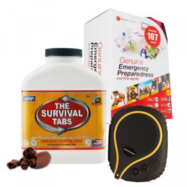 Emergency First Aid Kit (167 Pcs), Survival Tabs (Chocolate), Waterproof Battery Pack (6000 mAh)