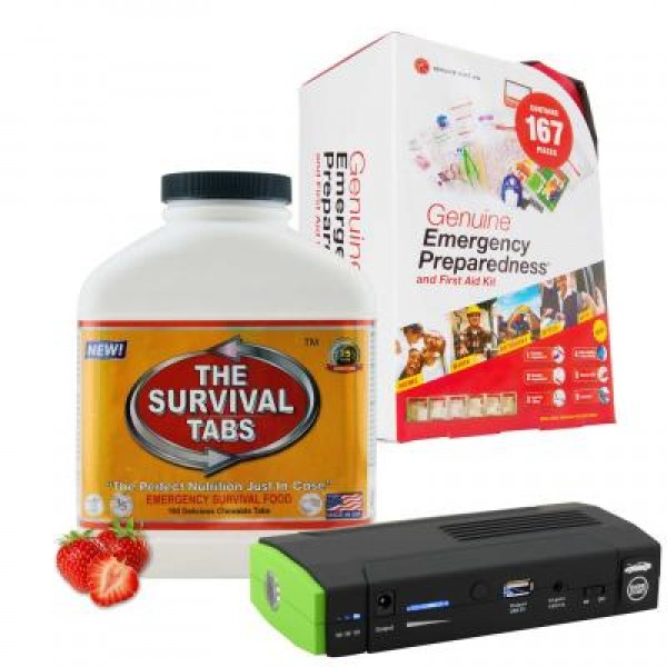 Emergency First Aid Kit (167 Pcs), Survival Tabs (Strawberry), Power Bank (13600 mAh)