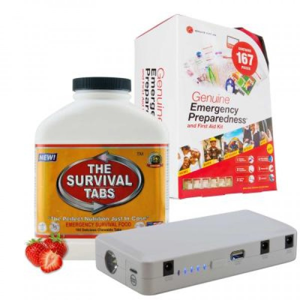 Emergency First Aid Kit (167 Pcs), Survival Tabs (Strawberry), Power Bank (12000 mAh)