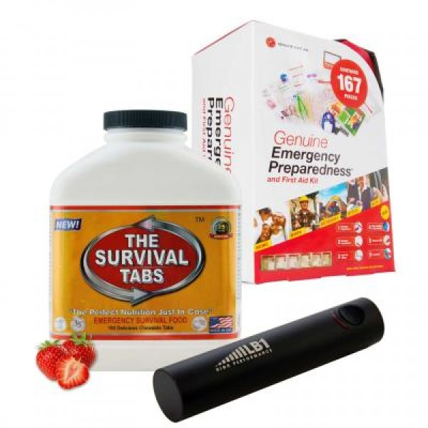 Emergency First Aid Kit (167 Pcs), Survival Tabs (Strawberry), Mini Power Bank (2200 mAh - Black)