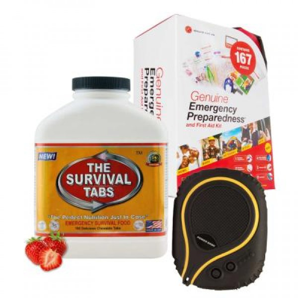 Emergency First Aid Kit (167 Pcs), Survival Tabs (Strawberry), Waterproof Battery Pack (9000 mAh)