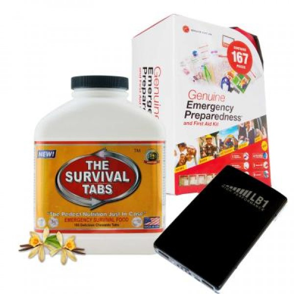 Emergency First Aid Kit (167 Pcs), Survival Tabs (Vanilla), Power Bank (10000 mAh)