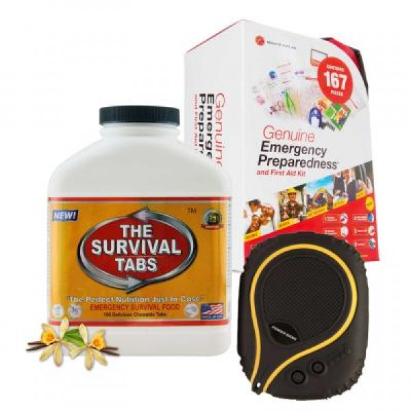 Emergency First Aid Kit (167 Pcs), Survival Tabs (Vanilla), Waterproof Battery Pack (6000 mAh)
