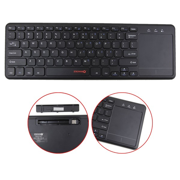 USB Wireless Keyboard with Trackpad, Wireless Full Size Keyboard/Mouse Touchpad Combo 2.4 GHz USB