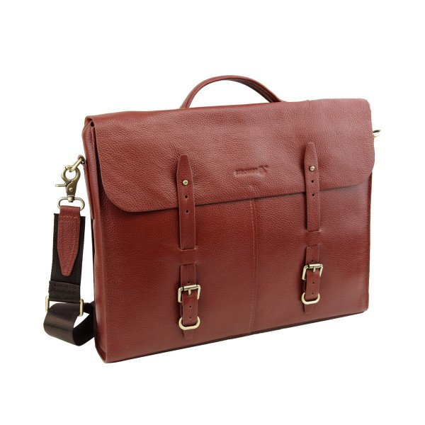 Strongrr Genuine Leather Laptop Messenger Bag for 15 inch Laptop Business Briefcase (Maroon)