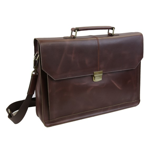Strongrr Leather Laptop Messenger Bag Business Briefcase for 15 inch Laptop (Maroon)