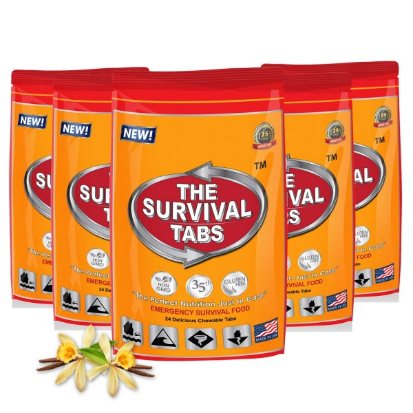 Survival Tabs 10-Day Emergency Food Supply 120 Tabs - Vanilla Malt Flavor