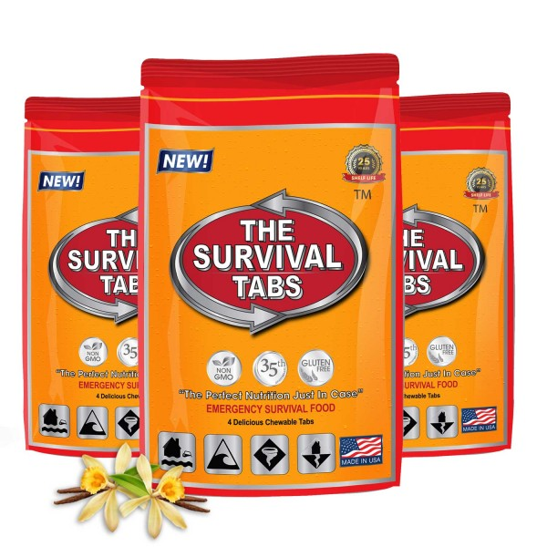 Survival Tabs 1-Day Emergency Food Supply 12 Tabs - Vanilla Malt Flavor