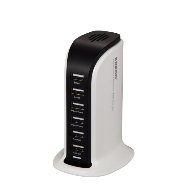 Kinkoo® 40W 6-Port Family-Sized Desktop USB Charger with iPower Technology