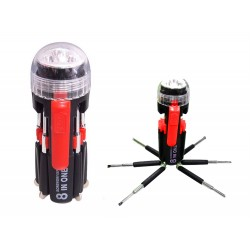 8 in 1 Screwdriver & 3 LED Torch Flashlight